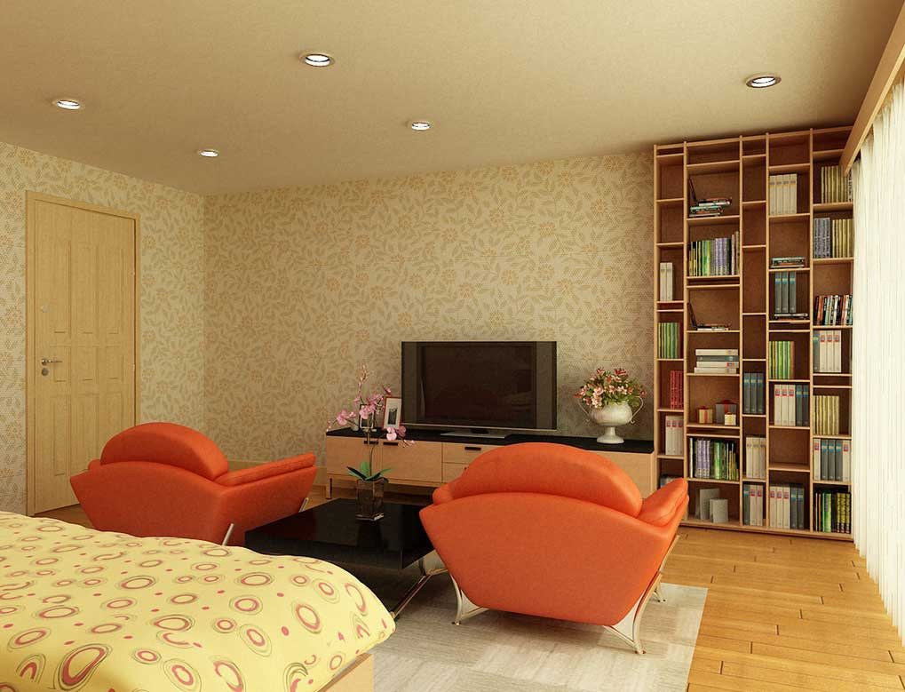 Orange Sofa In Bedroom With LCD TV By Nguyen