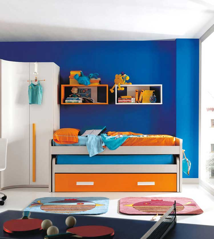 Orange And Blue Sliding Bed For Kids Interior Design Ideas