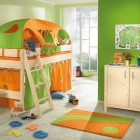 Orange and Green Color Kids Room with Play Area