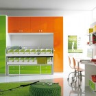 Orange and Green Plastic Furniture Set for Kids Room