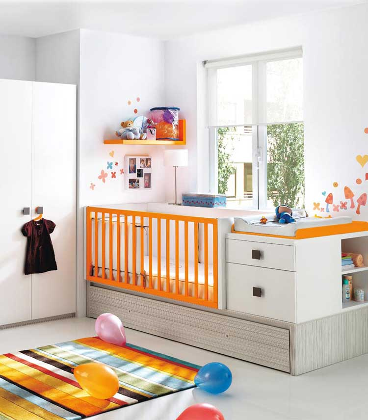 Orange And White Baby Crib From Kibuc