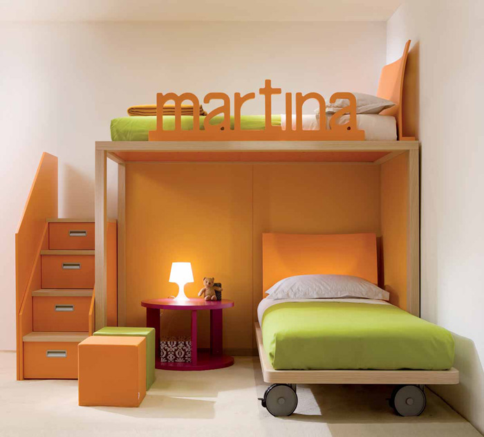 Orange ang Green Bunk Beds for Sisters with Pink Table