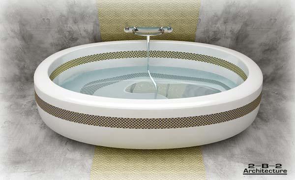 Oval Bath with Arabic Theme Design