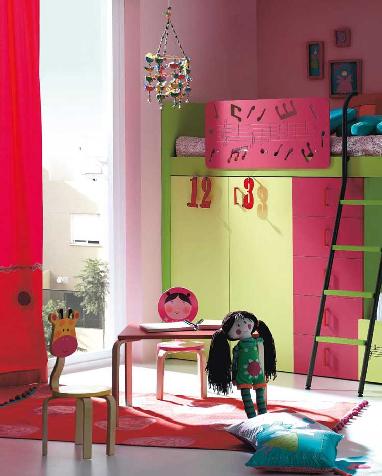 Pink and Green Loft Bed for Girls