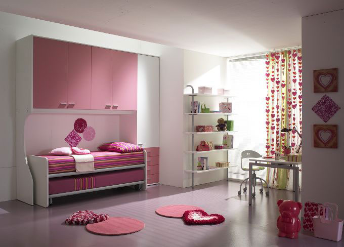 Pink and White Girl Room with Sliding Bed Striped Cover Ideas