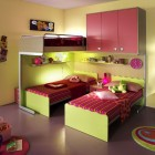 Pink and Yellow Bunk Beds for Three Girl with Round Rugs