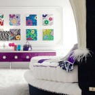 Purple Bedroom Design with Wall Decorations