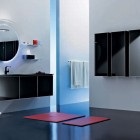 Round Mirror in Black Furniture Bathroom with Square Red Rugs