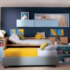 Royal Blue Wall Color Kids Room with Yellow Bed Cover