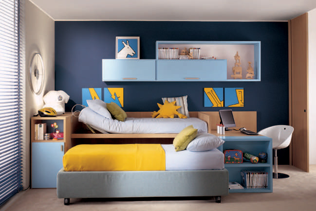 Royal Blue Wall Color Kids Room With Yellow Bed Cover Interior Design Ideas