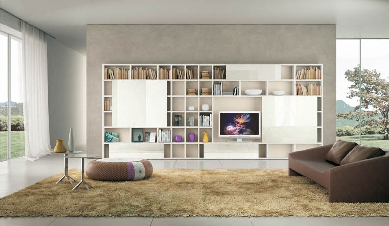 Shelves Ivory with Cream Rugs and Brown Sofa Ideas
