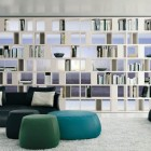 Shelves Open Pockets White with Elegant Black Sofa