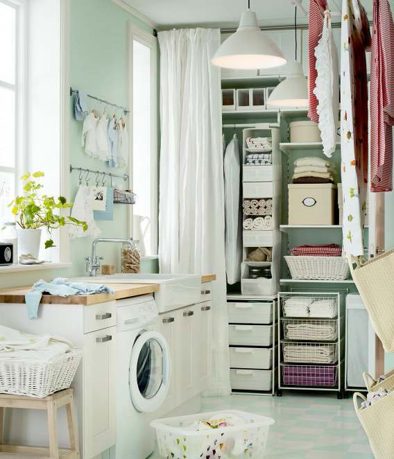 Simple Ikea Organized Laundry Storage 2012 Interior