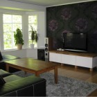 Simple Living Room TV with Floral Wallpaper