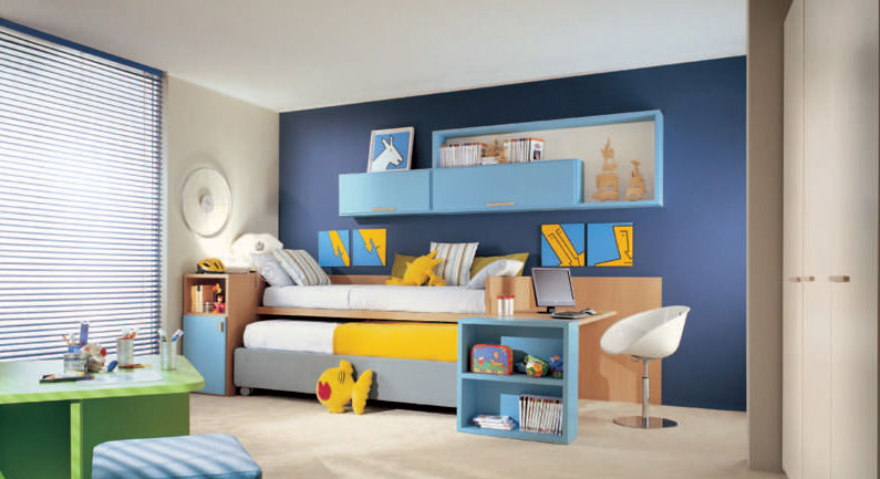 Sliding Bunk Beds with Single Study Desk for Kids