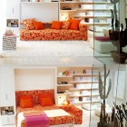 Space Saving Orange Sofa Bed for Bedroom