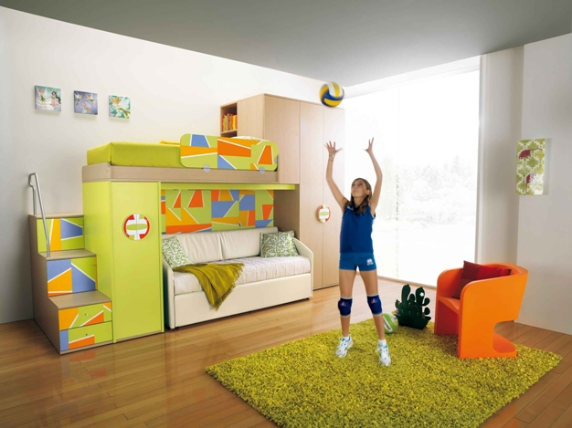 Sporty Kids Room Decor with Green Bunk Beds and White Sofa Beds