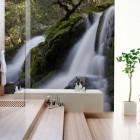 Stylish Bathroom with Waterfall Wallpaper Ideas