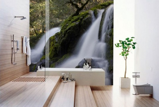 Stylish Bathroom with Waterfall Wallpaper Ideas