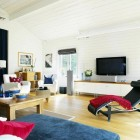 Techy Attic White Living Room with Wooden Wall