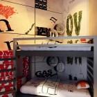 Teen Room with Corner Bunk Bed Design