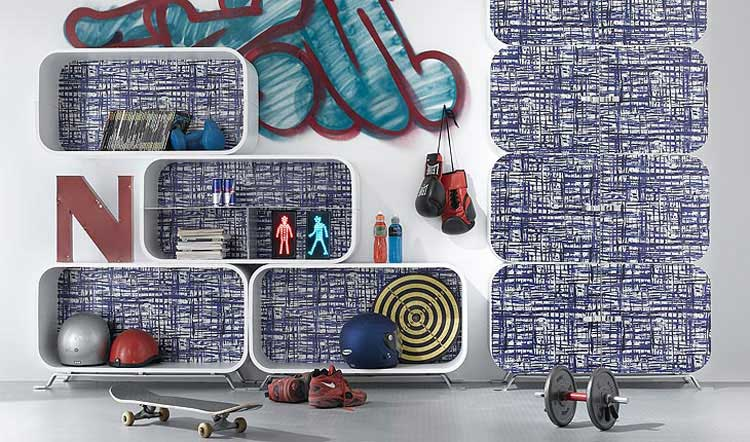 Teen Shelving System with Printing Jean Texture Decor