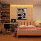 Teenager Sporty Bedroom with Bookshelving and Study Desk