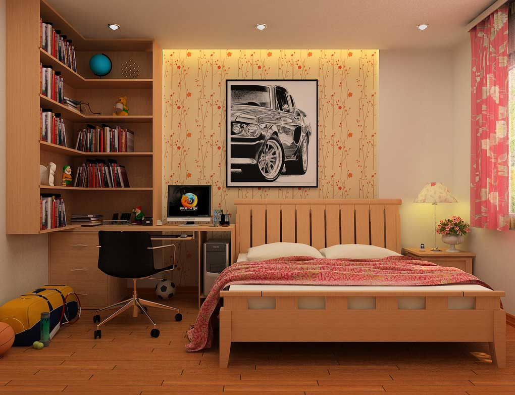 Teenager sporty bedroom with bookshelving and study desk for Kinderzimmer 11m2