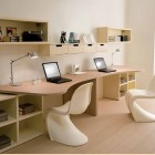 Twin Study Desk with Unique White Chairs