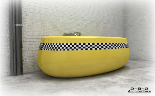 Unique Yellow Cab Themes for Modern Bath