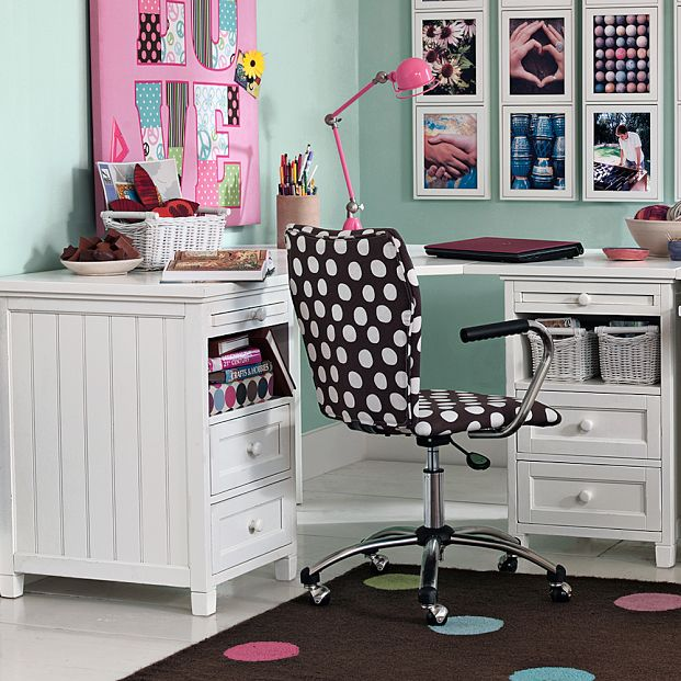 Useful Study Room Ideas with Pink Study Lamp and Brown Polka Dot Chairs