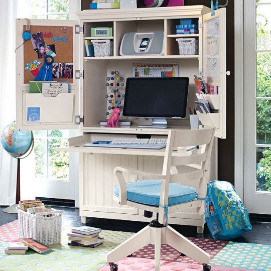 Utility Study Rooms with Mac Desk and Blue Chairs