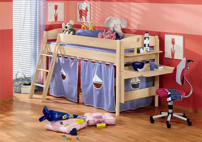 Violet Bunk Beds for Kids with Red Wall Decor