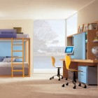 Violet, Yellow and Blue Kids Room With Natural Wood Color Furniture