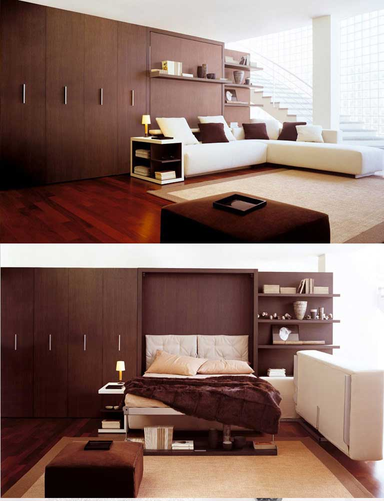 Wall beds space saving furniture for bedroom living room for Space saver living room designs