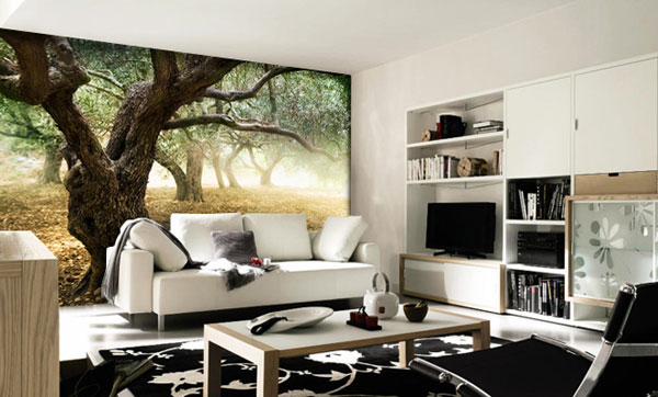 Wall sticker landscape trees living room ideas interior - Wall sticker ideas for living room ...