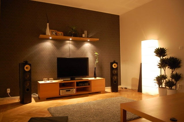 Warm Tech Living Room with Great Lighting