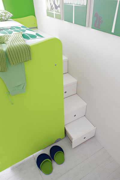 White Chair in Green Bunk Beds with Hiden Storage
