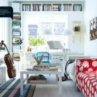 White IKEA Living Room with Polkadot Sofa Design