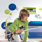 White Kids Bedroom with Green and Blue Accent
