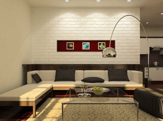 White Living Room with Brick Wall and Red Accents