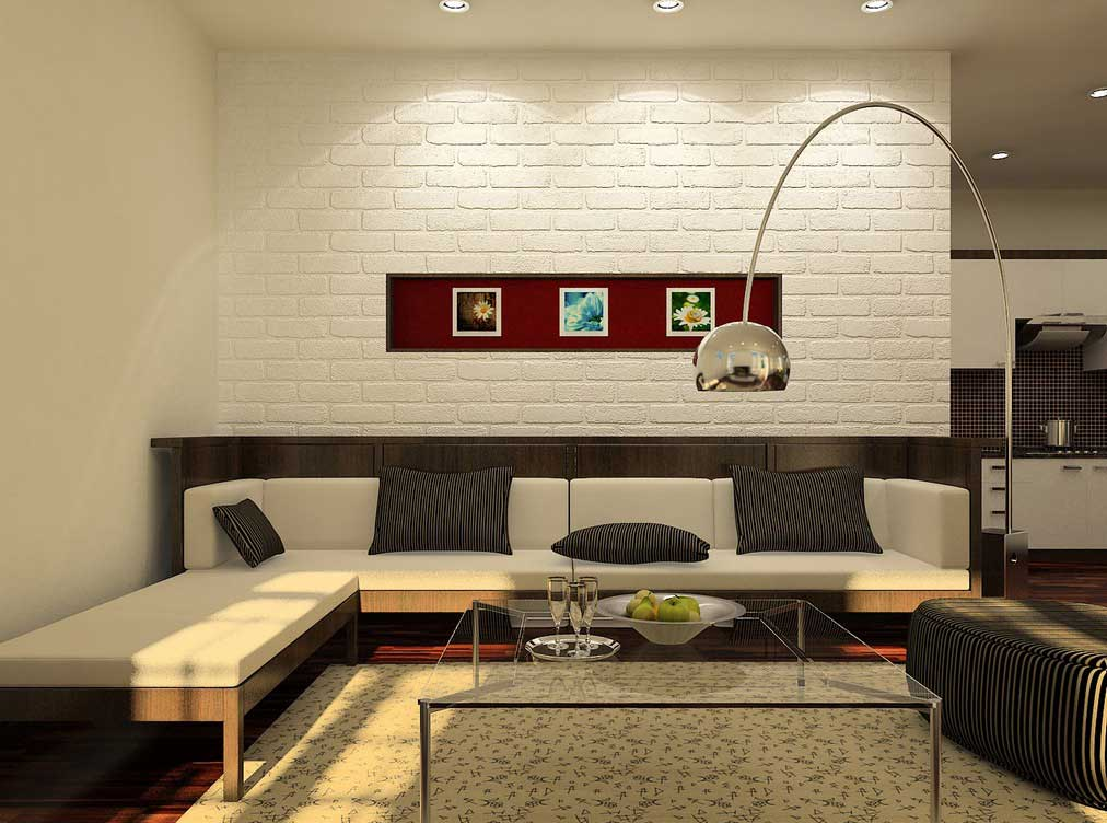 White Living Room With Brick Wall And Red Accents Interior Design