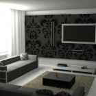 White Living Room with Graphic Prints on the Wall and Pillows