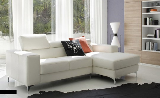White Sofa and Natural Lit Living Room with Black Sofas
