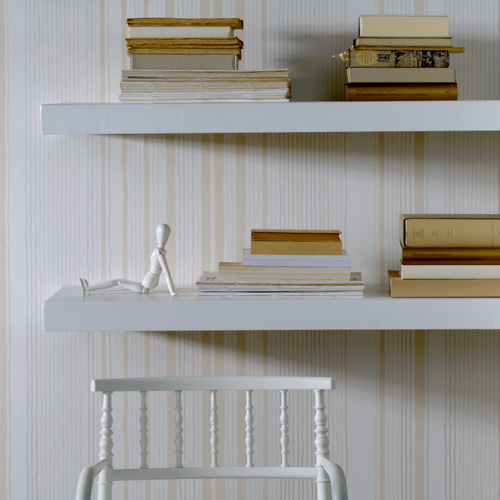 White and Cream Modern Eco Friendly Striped Wallpaper