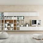 White and Cream TV Wall Mount Shelves Design