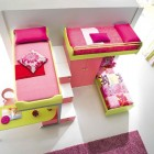 Yellow and Pink Bunk Beds for Three Girls Design