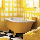 Atractive Painted Clawfoot Tub with Yellow Color