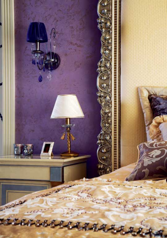 luxury apartment with lilac and plum violet interior