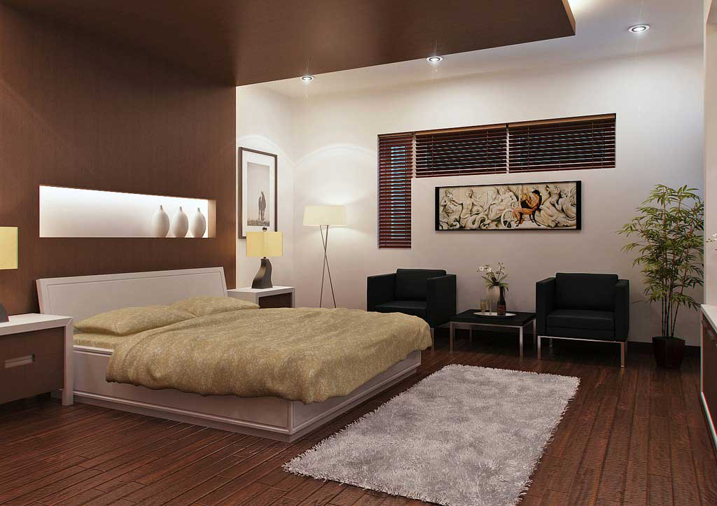 Awesome white and brown bedroom with wood stairs for Top bedroom designs 2012